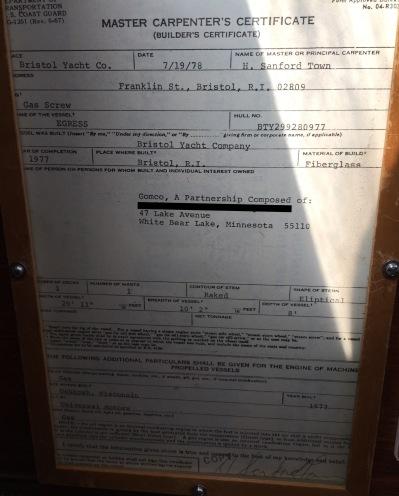original builders certificate